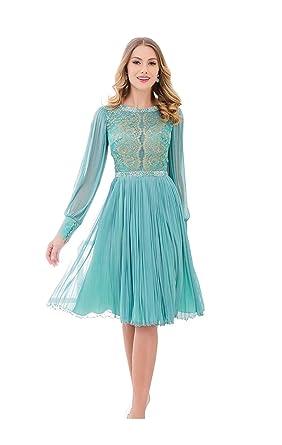 88958b0806103 Elégante Femme Robe Orientale de Cérémonie de Soirée pour Mariage Manches  Longues Longueur Genou Menthe Vert avec Perle  Amazon.fr  Vêtements et  accessoires