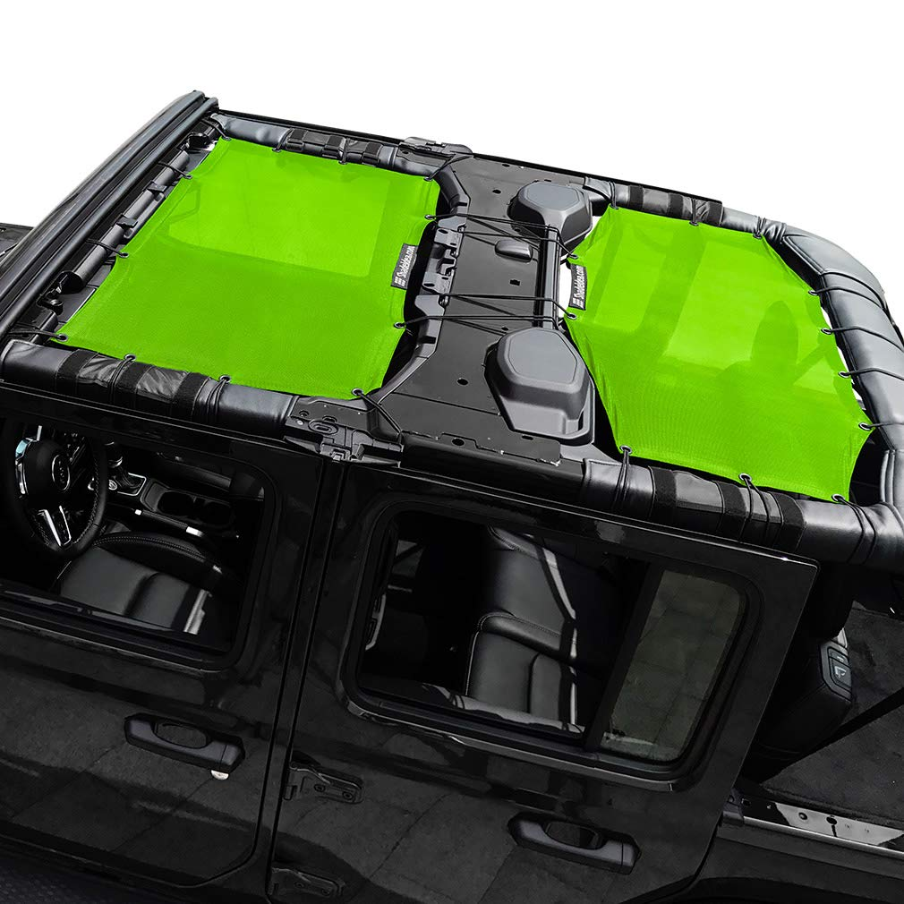Shadeidea Jeep Wrangler Sun Shade JL Unlimited 4 Door Front and Rear 2 piece-Green Mesh Screen Sunshade JLU Top Cover UV Blocker with Grab Bag-One time Install 10 years Warranty