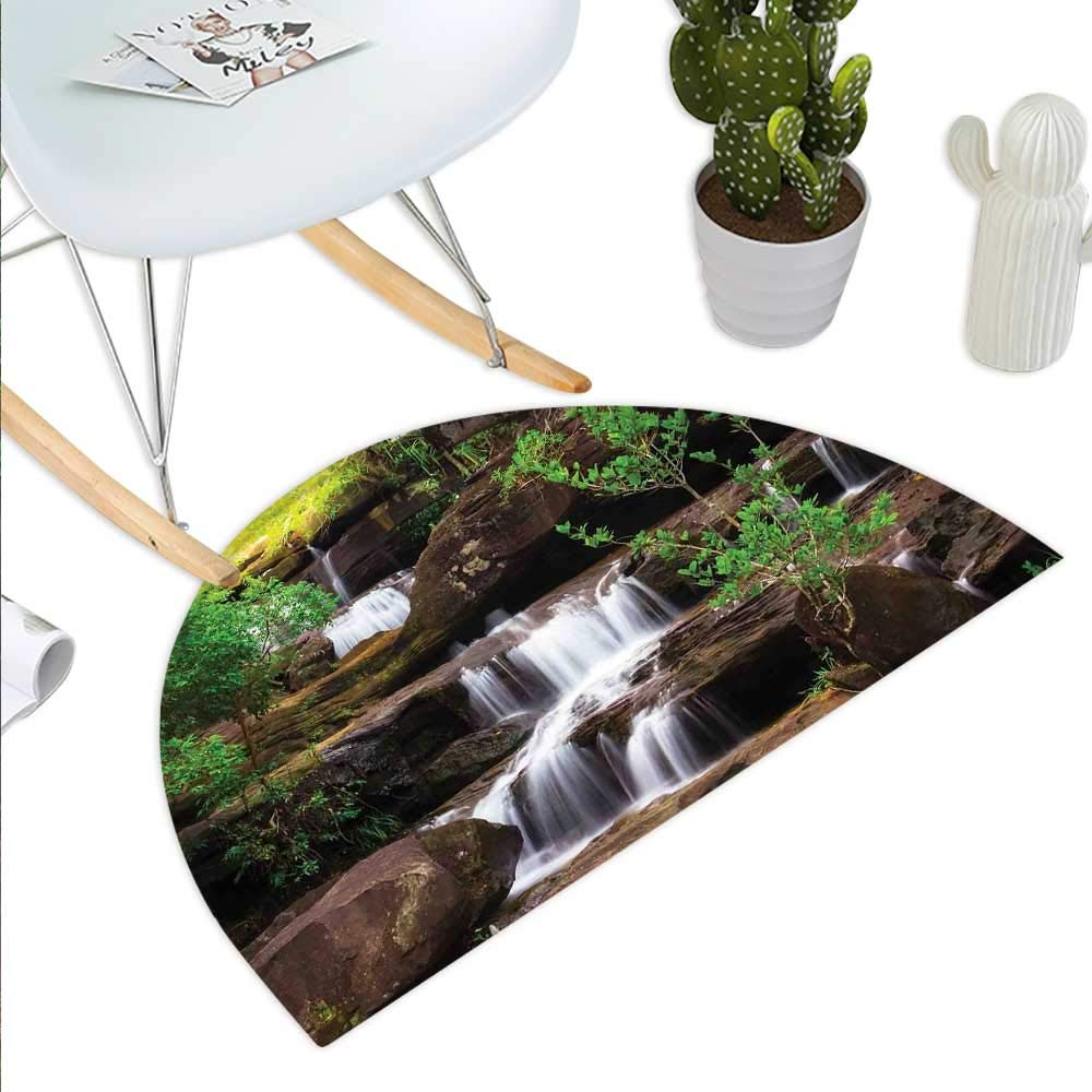 color13 H 27.5  xD 41.3  Waterfall Semicircle Doormat Deep Forest and Waterfall Runoff Autumn Fall Seasonal Forest Print Halfmoon doormats H 27.5  xD 41.3  orange Brown Turquoise