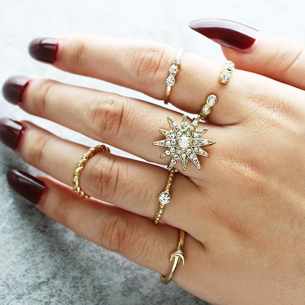 Amazon Com Deniferymakeup Vintage Gold Ring Simulated Diamond Ring Rhinestone Star Ring Moon Alloy Finger Ring Open Ring Crystal Band Ring Love Stackable Rings Gift For Girls And Women Water Drop Ring Set
