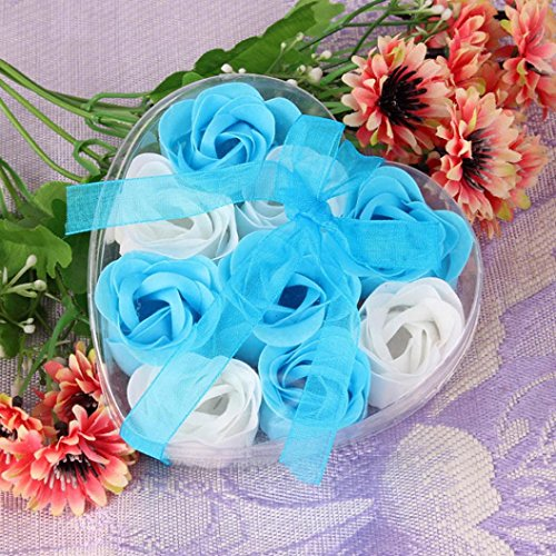 12 Scented Bath Soap Rose Flower, Plant Essential Oil Soap (Blue) - 6