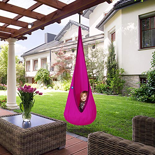 AMAZEYOU Kids Swing Hammock Pod Chair - Child's Rope Hanging Sensory Seat Nest Indoor Outdoor Use Inflatable Pillow - Great Children, All Accessories Included (Pink)