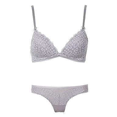 38ca171096 Embroidery Floral Wireless Bra Lace Lightly Lined Triangle Bra Set  Underwear Women Lingerie Deep Plunge V