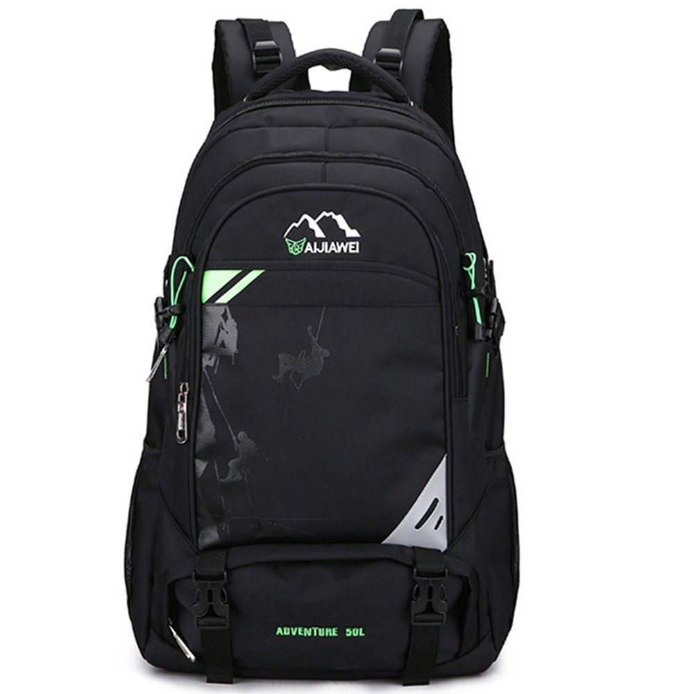 Black with green Hiking Camping Backpacking Multifunctional Travel Backpacks Waterproof and Breathable Walking Rock Climbing Casual Sports Neutral Bag for Outdoor Use (color   Black with Green)