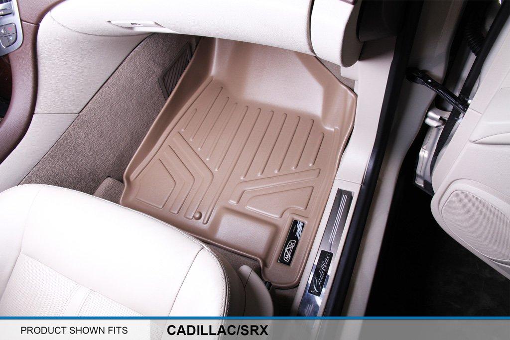 SMARTLINER Floor Mats 2 Row Liner Set Tan for 2010-2016 Cadillac SRX