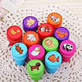 12-Piece Multicolor Assorted Plastic Animal Stamps Set Self Inking Stamps Toy Gifts for Kids Toddler Best Self Inking Plastic Christmas Themed Stamps
