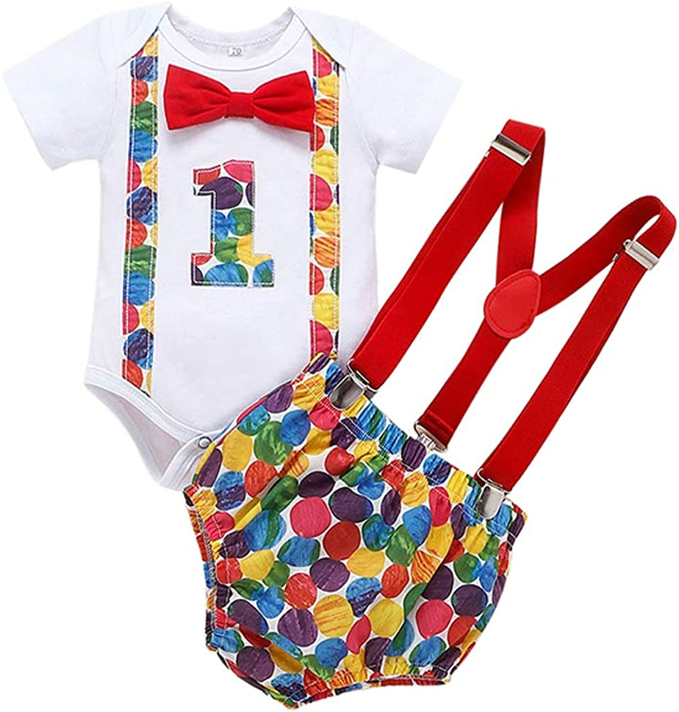 Newborn Infant Baby Boys Summer Outfits 1st Birthday Bow Tie+Belt Shorts Pants Bodysuit Bloomers Suspenders Clothes Sets