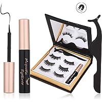 Magnetische Wimpern, Magnetic Eyeliner, 3D Wiederverwendbar Magnetischer Eyeliner Set, 3 Paar natürlich Wasserdicht Falsche Wimpern, Leder-Geschenkbox (Schwarz)