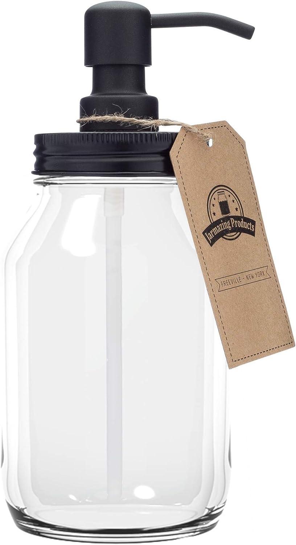 Jarmazing Products Quart-Size Mason Jar Soap Dispenser - Black - with 32 Ounce Clear Mason Jar