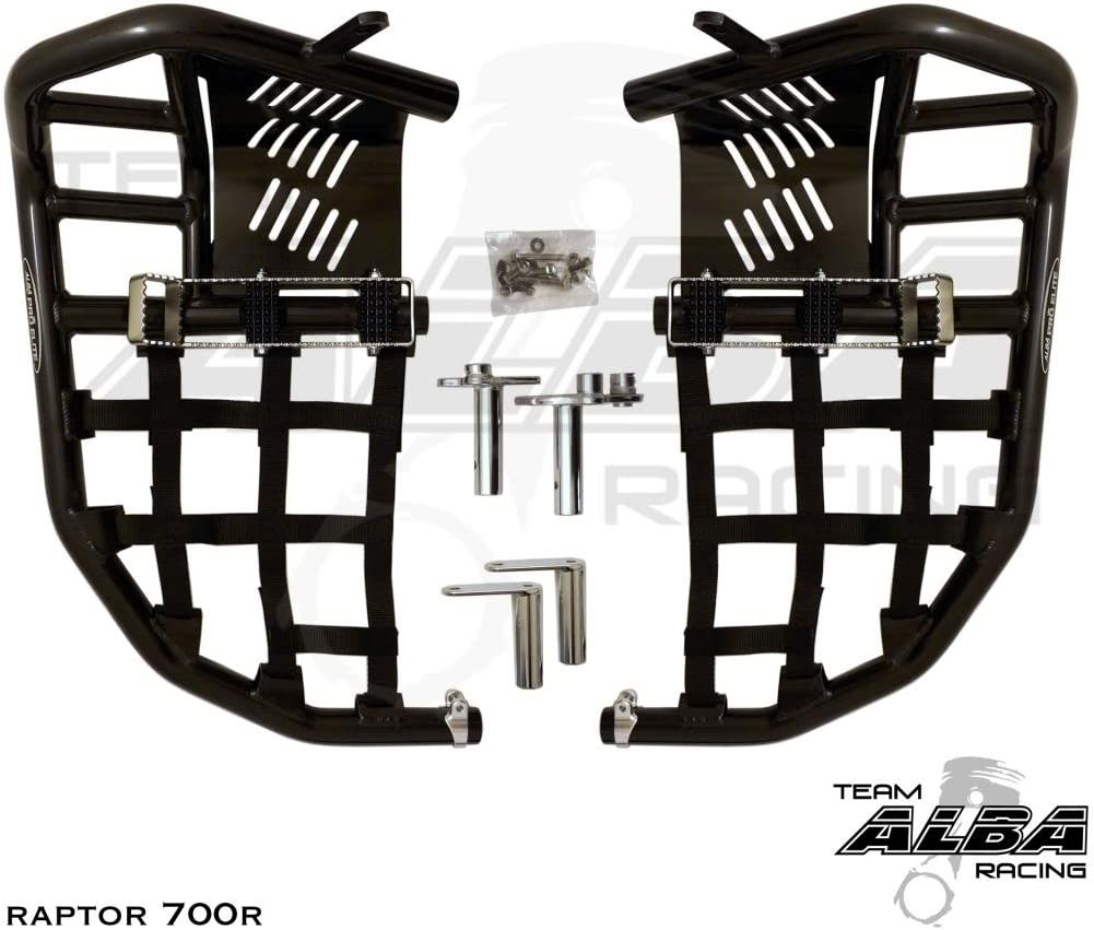 YFM 700 2013-2019 2006-2019 Propeg Nerf Bars Black Bars w//Red Net Yamaha Raptor 700 Raptor 700R
