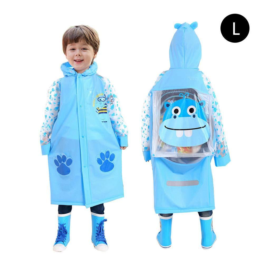 PVC Kinder Rucksack Regenmantel, Kinder umweltfreundlich Regenmantel Aufblasbare Kappe Krempe mit Tasche Halter Modische Weiseponcho iShine