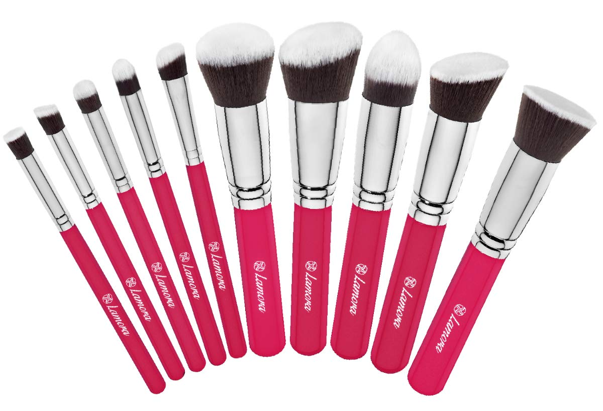 Kabuki Makeup Brush Set - Foundation Powder Blush Concealer Contour Brushes - Perfect For Liquid, Cream or Mineral Products - 10 Pc Collection With Premium Synthetic Bristles For Eye and Face Cosmetic