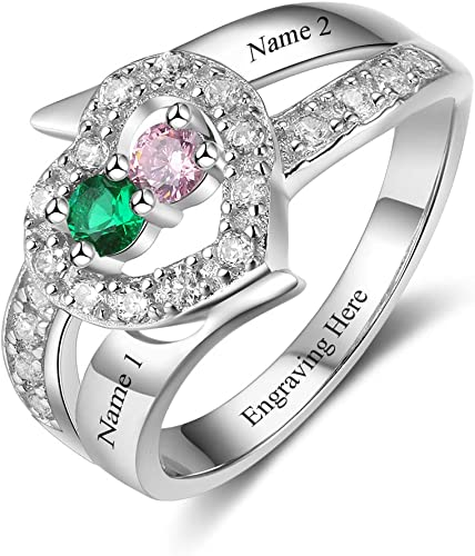 GoCustom Personalized Name Rings with Simulated Birthstones Promise Rings Sterling Silver for Women Couple Engagement Rings Band