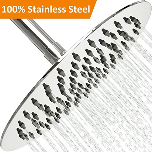 Waterfall Head - Rain Shower Head Stainless Steel – [NEW 2019] High Pressure 8 In Rainfall Bathroom Powerful Spray Shower Heads – Best High Flow Fixed Luxury Chrome SPA Showerhead with Adjustable Metal Swivel Ball
