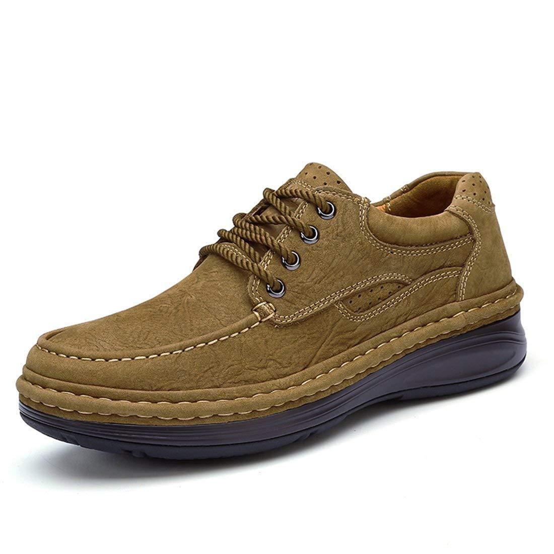 Herren stilvolle Leder Outdoor Sport Slip Qualität Wanderschuhe (Farbe   Khaki, Größe   8 UK)
