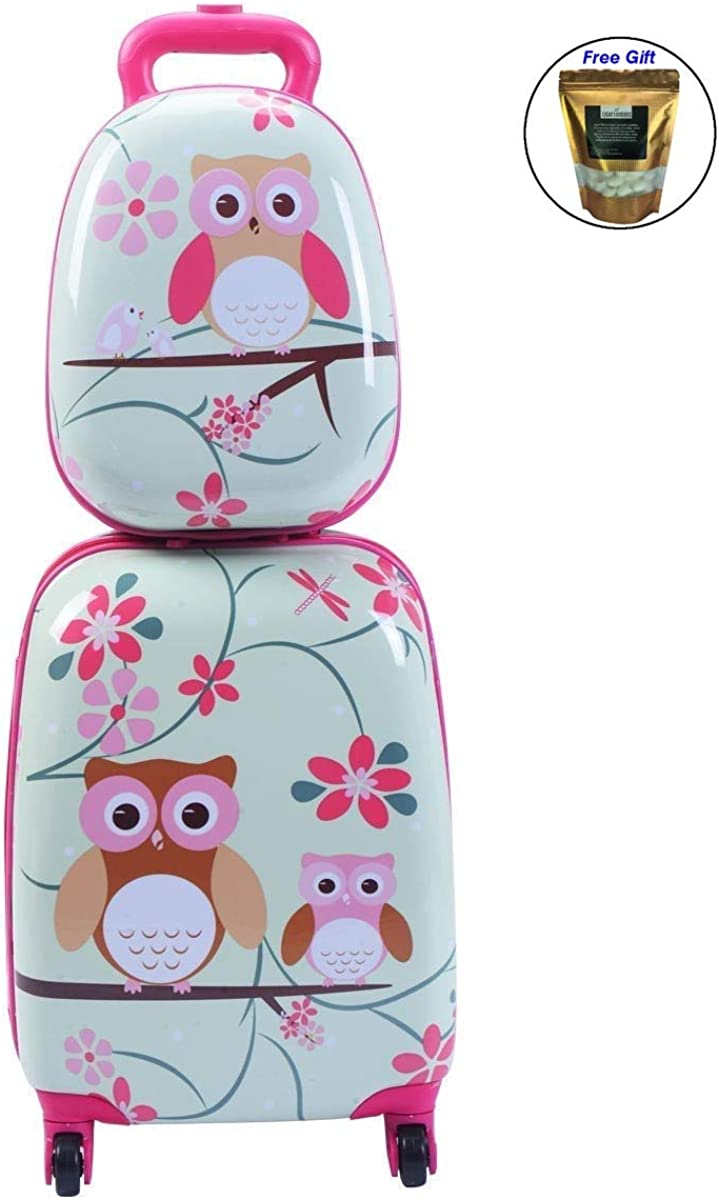 2 pcs 12 16 Green ABS Kids Suitcase Backpack Luggage Set Only by eight24hours SPECIAL GIFT Organic Natural Silk Cocoons