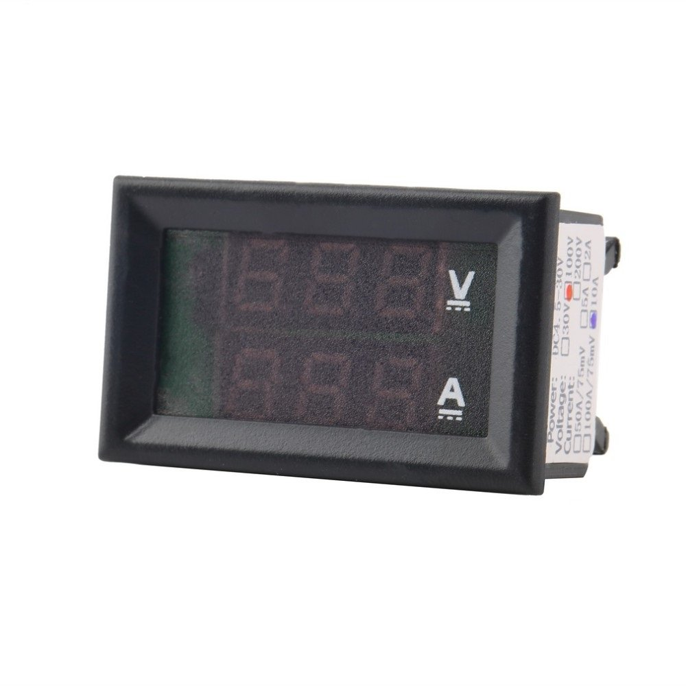 Ane Dc 0 100v 10a Voltmeter Ammeter Red Blue Led Amp Dual Digital Circuit Shows A Cell Lamp And An The Is Connected Volt Meter Gauge Display