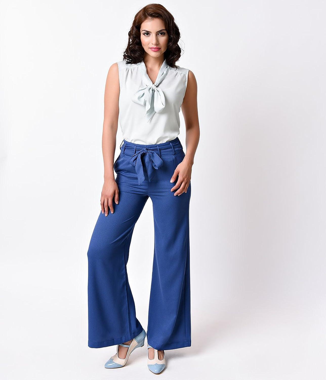 1940s Style Blue High Tie Waist Wide Leg Swing Trousers