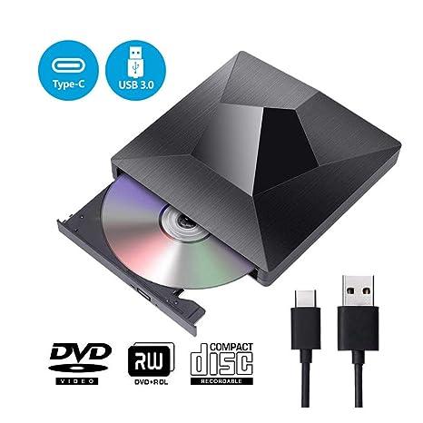 Grabadora Lector CD DVD Externa, KuWFi Tipo C USB 3.0 ...