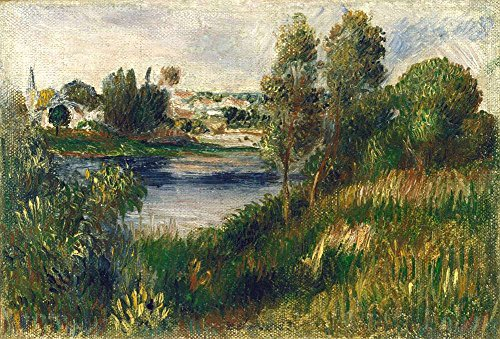 JH Lacrocon Pierre-Auguste Renoir - Landscape at Vetheuil Canvas Wall Art Rolled 90X60 cm (Approx. 36X24 inch) - Landscape Paintings Reproductions Prints