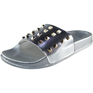 217a14f34cd5 Damen Bequem Ebene Gummi Augen Schieber Flats Schuhe Slides Pantoffeln Größe  38 Loud Look Verkauf Versorgung