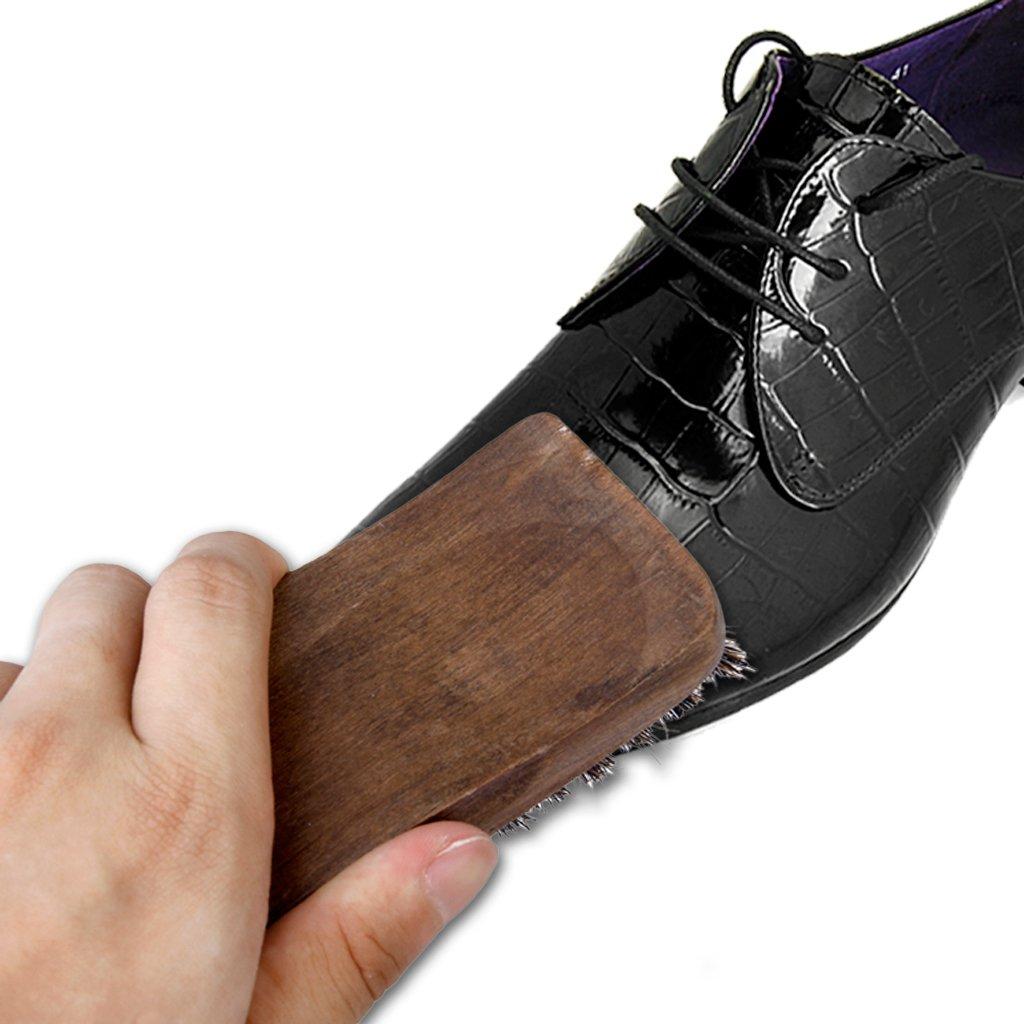P Prettyia Chaussures Professionnelles En Bois De Crin De Cheval Shine Brush Polonais Polissant La Brosse