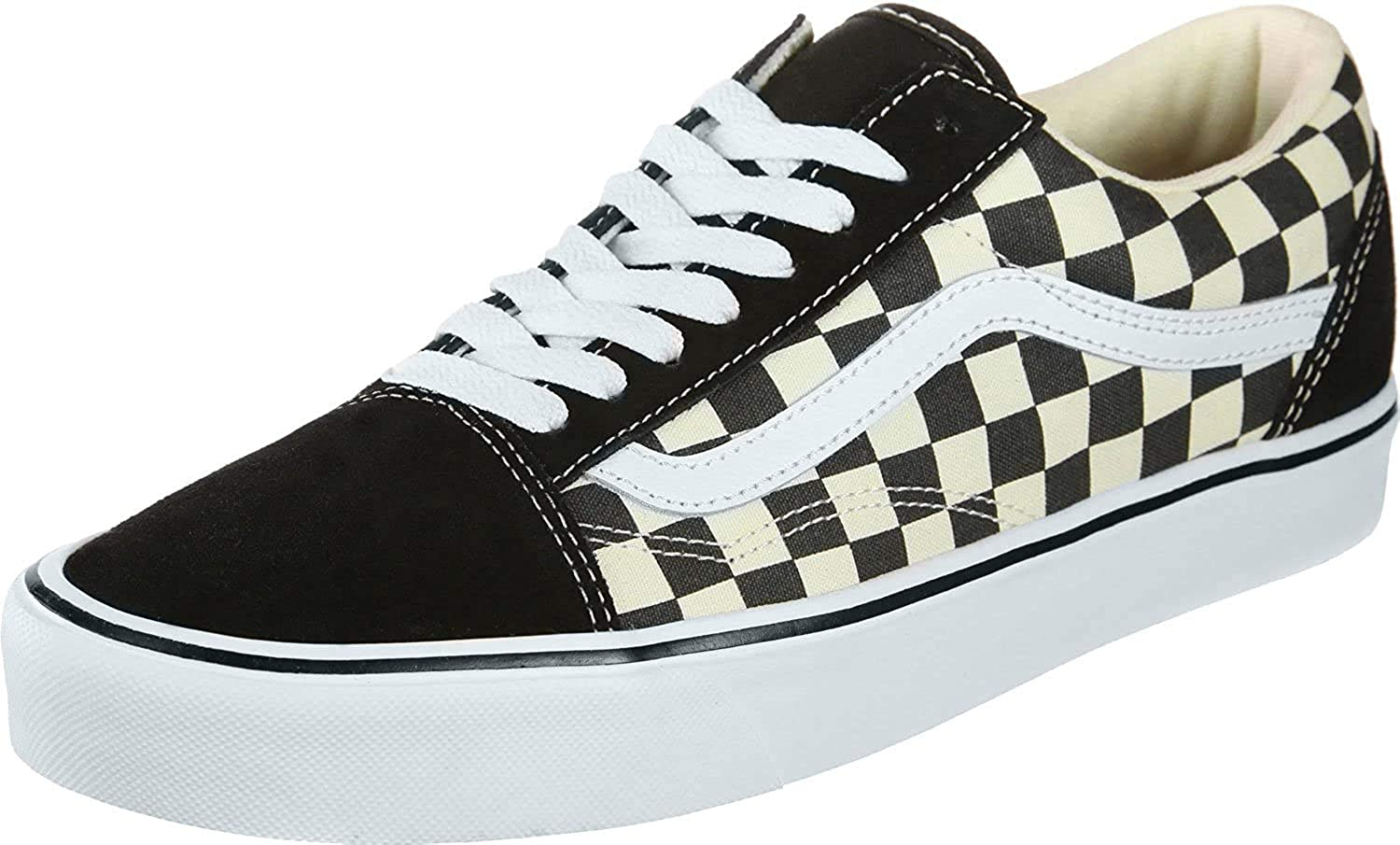 Vans Unisex Old Skool Lite Checkerboard Lace Up Trainer Black White Black 8 Fashion Sneakers