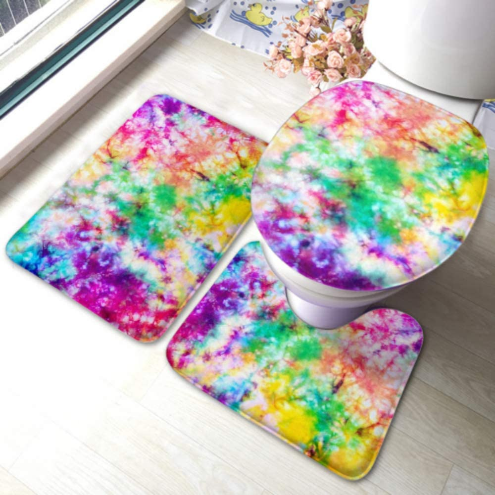 Amazon Com Lyaoe Toilet Rug Set Colorful Tie Dye Pattern Abstract Background Non Slip Bathroom Rug Mat Sets Toilet Pad Cover Bath Mat And Toilet Lid Cover Home Kitchen