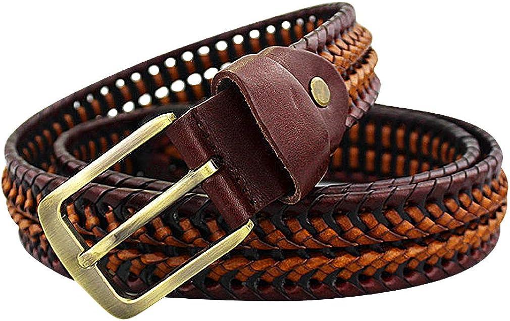 Celino Men Brown Braided 1.34 Wide Metal Pin Buckle Genuine Leather Belt