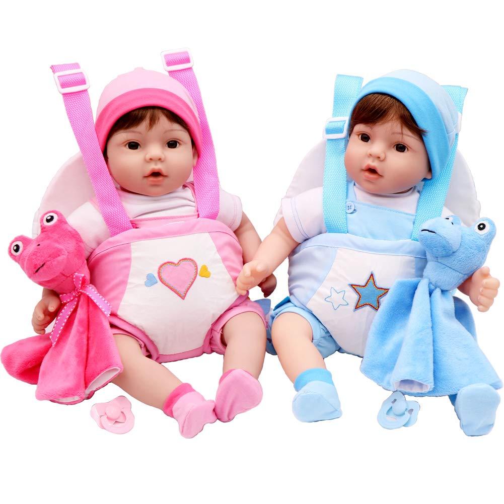 Aori Reborn Baby Doll Lifelike 18 inch Boy Doll Sets with Baby Doll Carrier