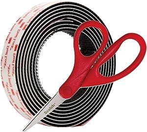 3M Dual Lock Reclosable Fastener SJ3550 250 Black, 1 in x 4 Ft with Bonus Scotch 1406 Household Scissors