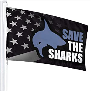 USA Black Flag Save The Sharks Flag 3X5Fit Durable for Patio Yard Garden Lawn Cute Funny Individuality Home Outdoor Decor Guide Sign Welcome Sign for Festival Gala Holiday Ceremony
