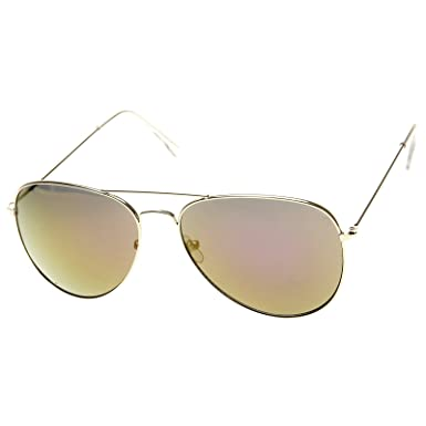 be61075bd zeroUV - Classic Gold Frame Color Mirror Lens Aviator Sunglasses 60mm (Gold  Fire): Amazon.co.uk: Clothing
