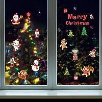 Stickers Fenêtre Noël Joyeux Noël Fête Noël Déco de Fenêtre Amovibles Bonhomme de Neige Poupée Stickers Muraux Vitres Decoration de Noël Vitres Autocollants Mural Porte Maison DIY Décoration (45*60cm, A)