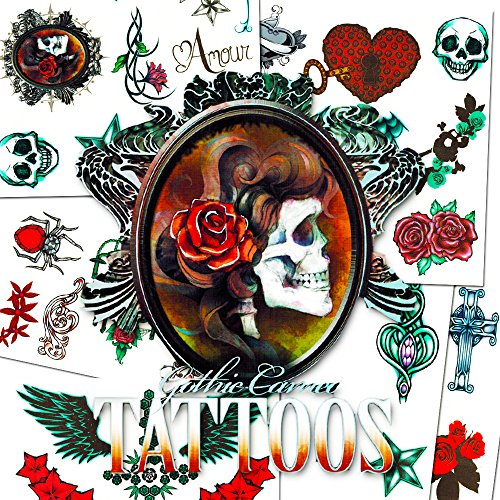 - Skull Tattoos For Girls Costume Set (36 Gothic Temporary Tattoos, Including Skulls, Roses, Stars, Hearts and More)