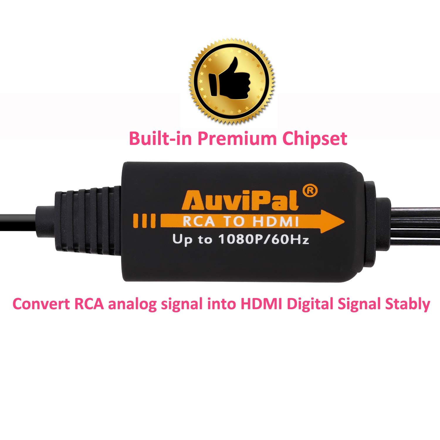 1080P RCA to HDMI Converter Cable, AuviPal AV to HDMI Adapter for Playing VHS/VCR/DVD Player/Game Consoles etc on Modern TV. All-in-One 3RCA Composite AV to HDMI Video Converter by AuviPal (Image #3)