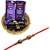 SFU E com Rakhi Chocolate Gift For Brother (2 Pcs Dairy Milk, 5 Pcs Eclairs , Rakhi, Roli, Chawal, Chandan, Misri)