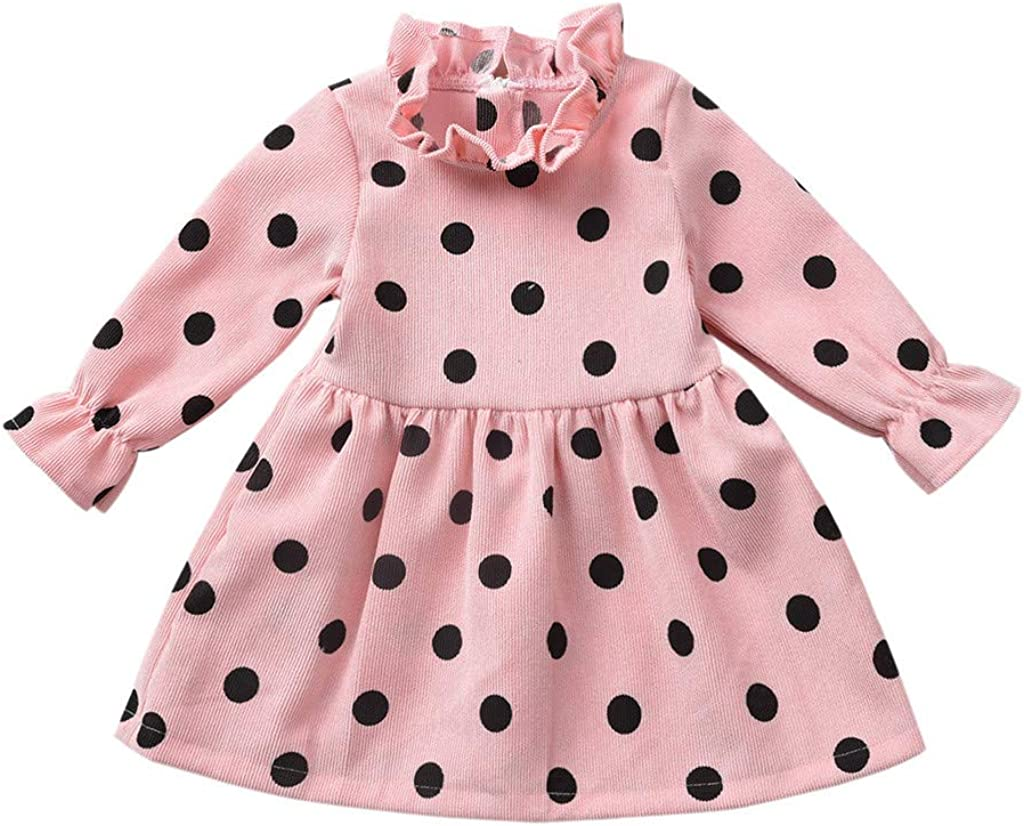 AMhomely Toddler Kids Baby Girls Ruffle Dot Print Princess Dress Party Casual Clothes Sale UK Size Best Gift for Children