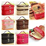 LQZ(TM) Portable Cosmetic Bag Double Layers Dots Patterns Travel Toiletry Bag Organizer With Mirror (12Colors/12PCS For Each/Total 144PCS)
