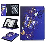 LMFULM Case for Amazon Kindle Voyage 3G (6.0 Inch) PU Leather Case Sleep/Wake Function Dreamy Blue Butterfly Pattern Stent Function Holster Flip Cover for Kindle Voyage 3G Tablet PC