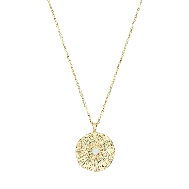 Amazon.com  gorjana Women s Sunburst Coin Necklace - 18K Gold Plated - Medallion  Necklace - Opal Charm - Adjustable Necklace - Pendant Necklace  Jewelry 5542361b4f