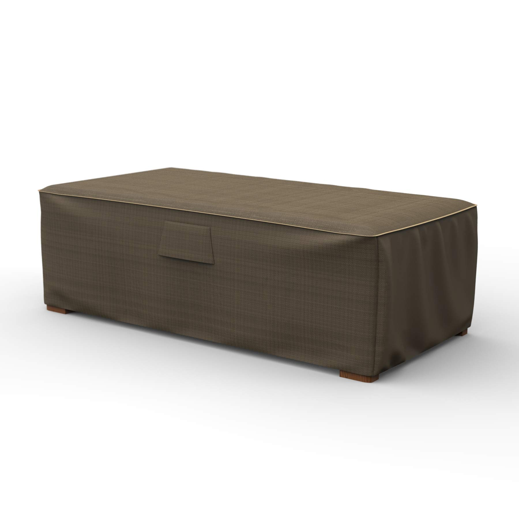 NeverWet Platinum Patio Ottoman Cover/Coffee Table Cover, Large (Black and Tan Weave)