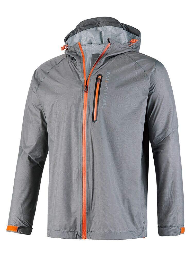 GEEK LIGHTING Rain Jacket for Men, Outdoor Zipper Waterproof Lightweight Raincoat Windbreaker with Hooded (Grey, Medium) by GEEK LIGHTING