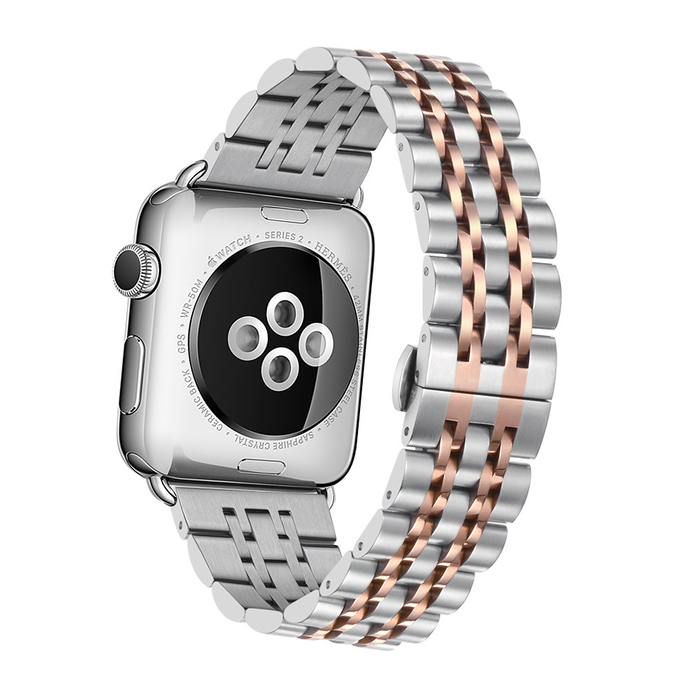 Elobeth For Apple Watch Band Series 1 And 2 Sport Stainless Alumunium 42mm Smartwatch Rosegold Size Name42 Colour Namerosegold