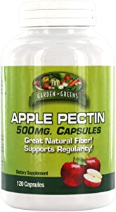 Garden Greens Apple Pectin 500mg, Great Natural Fiber and Supports Regularity, 120 Servings