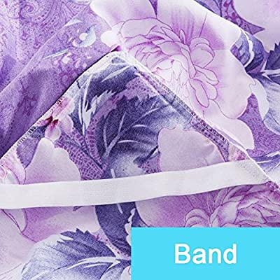 BERTERI Purple Bedding Fitted Bed Sheet Pillowcase Flower Elastic Ruffled Bedspread Home Decorate Mattress Cover Bedclothes Bed Skirt Linens