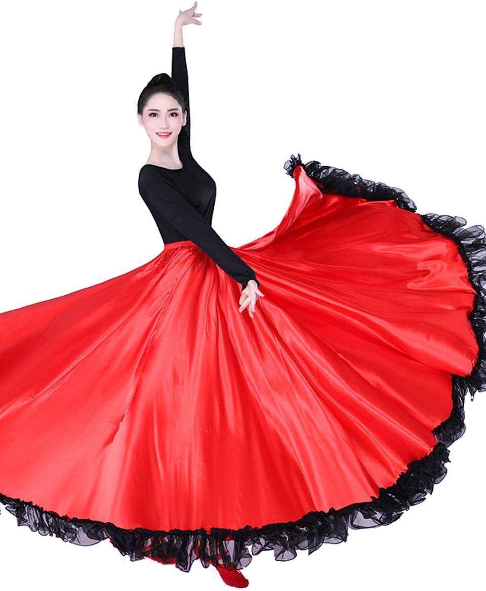 Grouptap Flamenco Rojo Satinado Encaje español Mexicano Maxi Largo ...