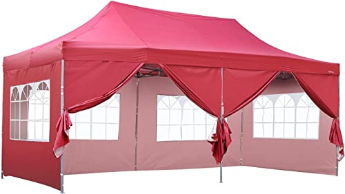 HYD-Parts 10 x 20 Easy Pop Up Party Tent UV Sun Shade Instant Folding 10x20 Ft, Red