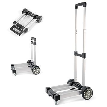 Waygo - Carretilla plegable de mano fabricada en aluminio, peso ligero y plegable, carro plegable con ruedas para cargar cosas e ir de compras: Amazon.es: ...