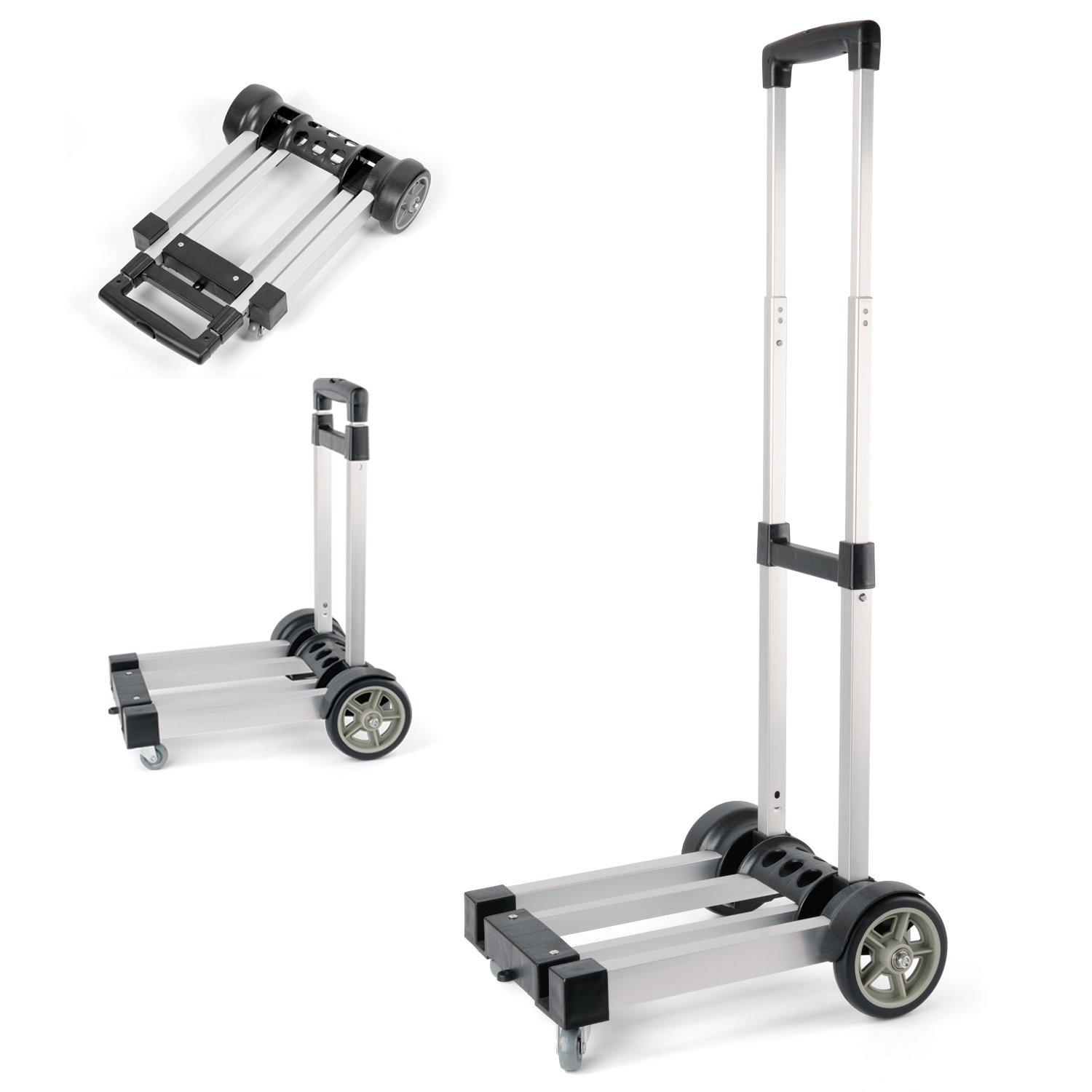 Waygo Aluminum Folding Hand Truck, Light Weight Foldable Dolly, Folding Cart with Wheels for Cargo and Shopping